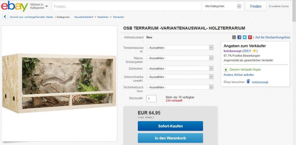 Terrariumkaufen: Holzterrarium Konfigurator